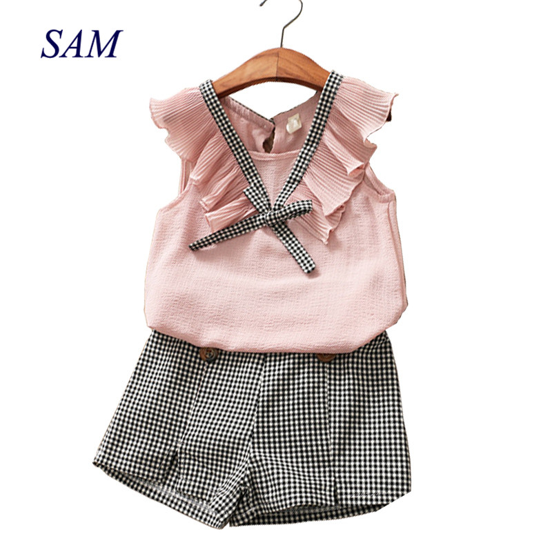 2018 Summer Fashion Girls Clothing Sets Fashion Solid and Plaid Kids Clothes Brand Chiffon Vest T-shirt + Plaid Shorts Clothing lonsant new 2018 summer baby girls kids girls love heart bow vest t shirt bow plaid shorts set sleeveless round neck clothing
