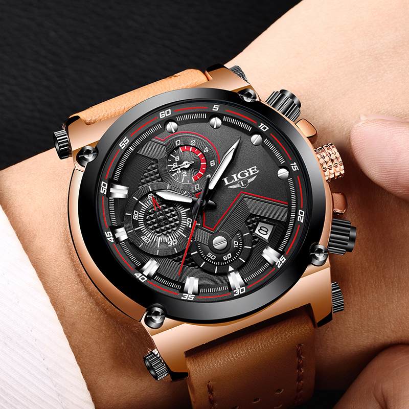 2018 LIGE Mens Watches Top Brand Luxury quartz wristwatches Men Casual Leather Military Waterproof Sport Watch Relogio Masculino2018 LIGE Mens Watches Top Brand Luxury quartz wristwatches Men Casual Leather Military Waterproof Sport Watch Relogio Masculino