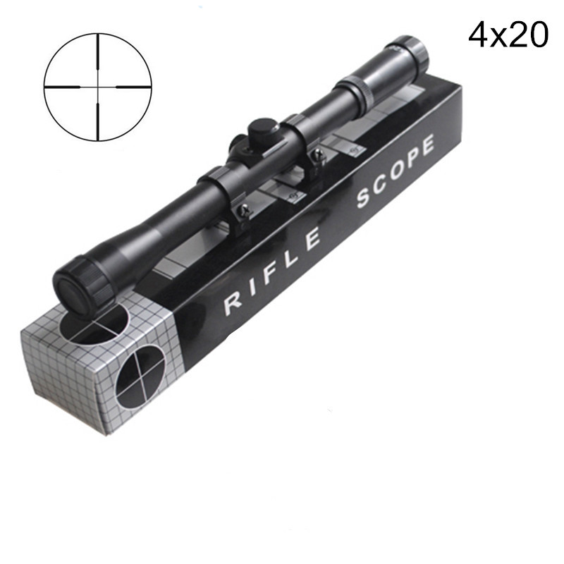 High Quality 4x20 Hunting Riflescopes Tactical Optics Reflex Sight Crosshair Scope With 11mm Rail Mount For.22 Caliber Air Gun