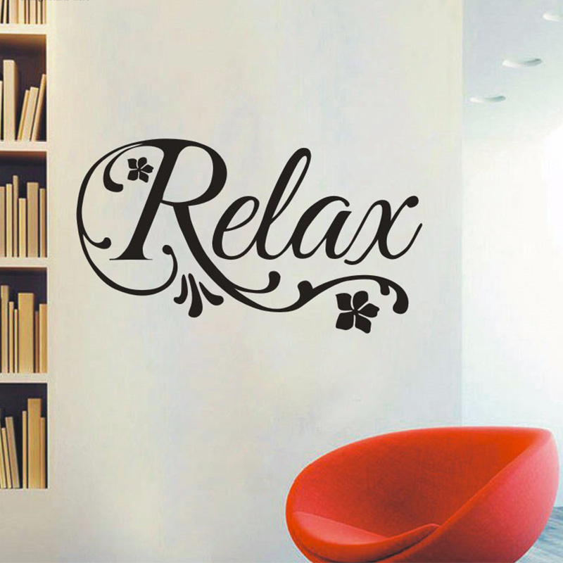 Relax swirls flower decal decal art vinyl wall sticker for Spa bathroom wall decor