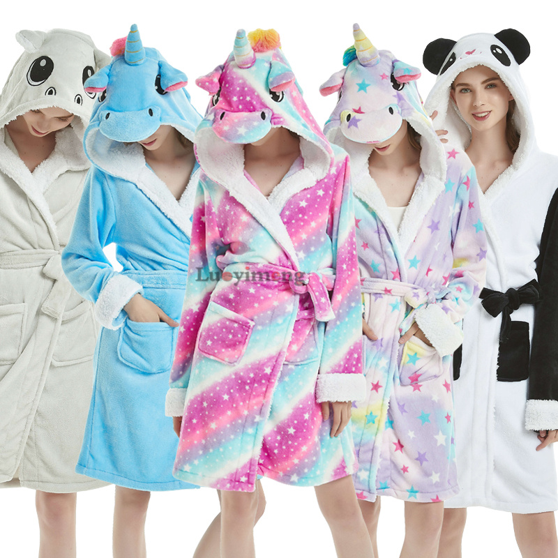 2019 Winter Thick Warm Women Unicorn Nightgowns Coral Fleece Kimono Robe Bath Suit Stitch Panda Sleepwear Animal Long Nightwear