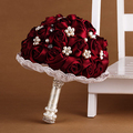 Burgundy Pearl Rhinestone Wedding Bouquets Bridal Flower De Novia Mariage Artificial Bridesmaid Accessoires