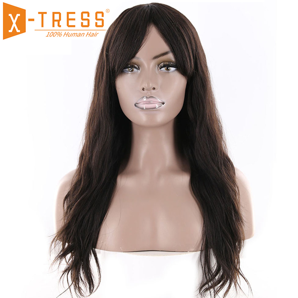 Natural Wave Human Hair Wigs With Bangs Middle Part X-TRESS Natural Color Brazilian Remy Human Hairpiece Wig For Women 18-22inch
