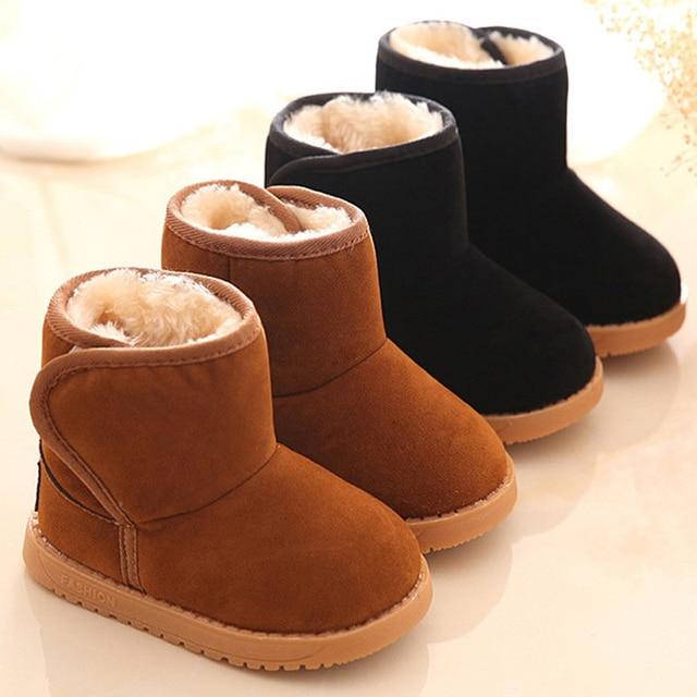2016 冬の子供のブーツ厚い暖かい靴綿が詰めスエードマジックフック少年少女ブーツ男の子の雪のブーツ子供靴