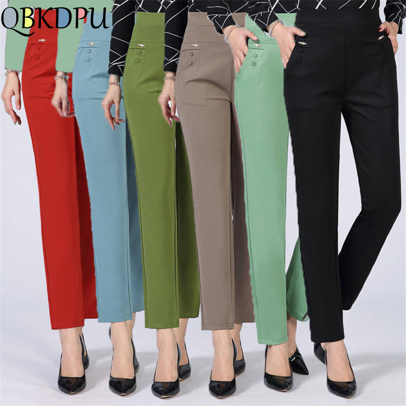 Summer Thin Pants Plus Size Business Formal Women Trousers Slim Female Work Wear Office Lady Career Plus Size High Waist Pants