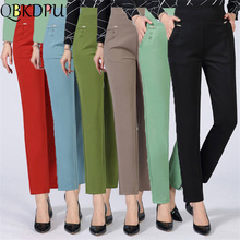 Summer Thin Pants Plus Size business Formal women trousers slim female work wear Office Lady career plus size high waist pants