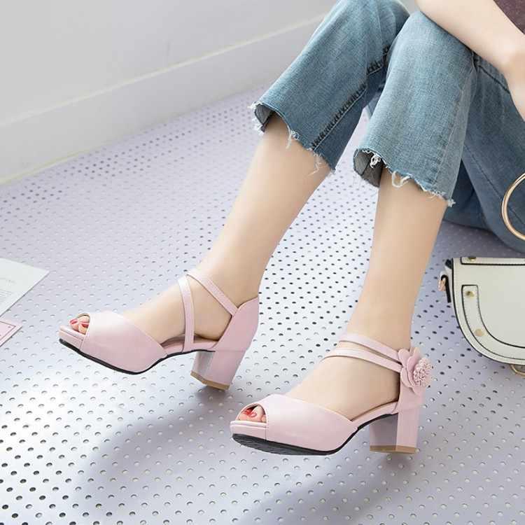 Grande Formato 11 12 di alta talloni delle donne dei sandali scarpe da donna di estate delle signore di Pesce-bocca fibbia sandali