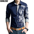 Shirt Men 2017 New High Quality Dragon Printing Shirts Slim Fit Male Mens Dress Shirts Long Sleeve Casual Shirt Mens Clothing
