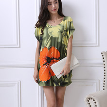 New summer spring 2018 Fashion Women short sleeve Dresses Plus Size Dress Loose Print girl casual tops XL-5XL