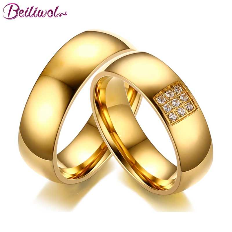 Beiliwol Fashion Wedding Rings For Women Men Aaa Zircon Simple Titanium Steel Gold Color Engagement Jewelry Couple Ring Gift Aliexpress