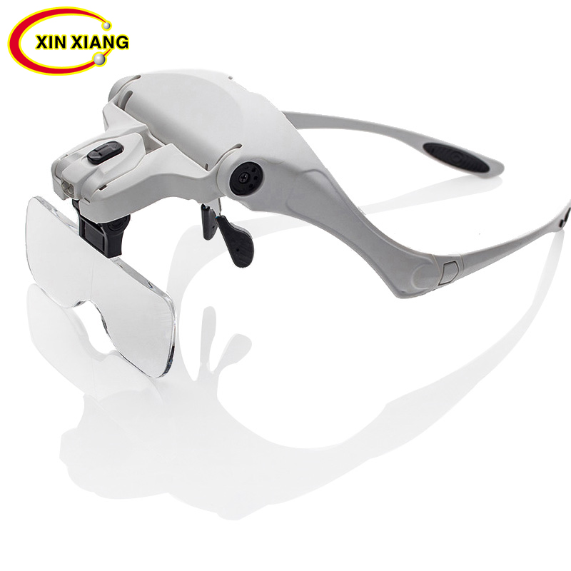 Headband 2 LED Magnifier For Soldering 1X 1.5X 2X 2.5X 3.5X Magnifying Glass Replaceable Band Reading Glasses Magnifier Loupe