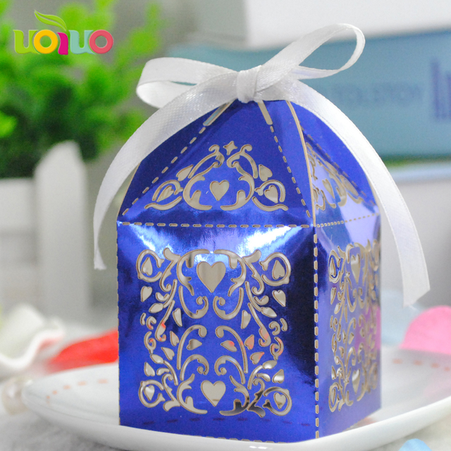 Hot Wedding Favors Box Royal Blue Souvenir Candy Gift Whole Made In China