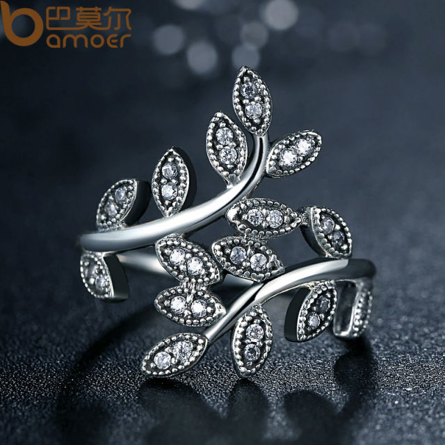 Silver Plated Sparkling LEAVES SILVER RING WITH CUBIC ZIRCONIA