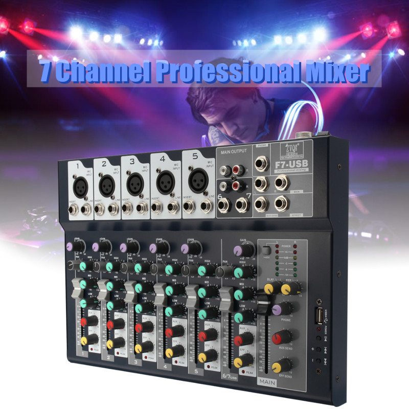 7 Channel Professional Stage Live Studio Audio Mixer USB Mixing Console DJ KTV Show Percussion Instruments Parts professional 4 channel live mixing studio audio sound console network anchor portable mixing device vocal effect processor