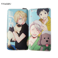 Yuri On Ice Wallets PU Leather Long Women Men Carteira Wallets Clutch Design Hand Bags Women