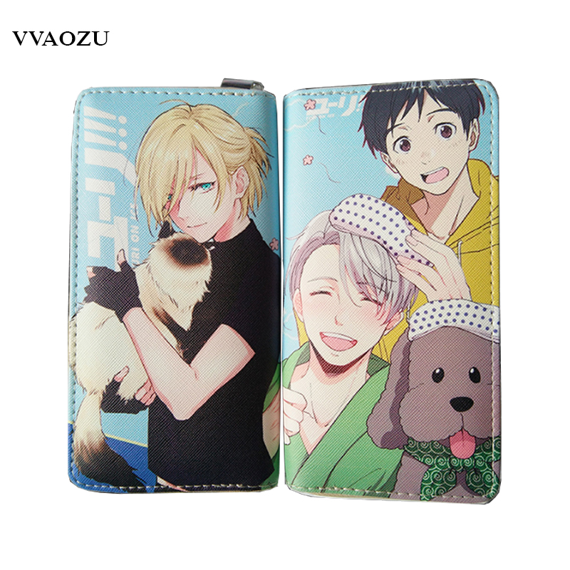 Yuri On Ice Wallets PU Leather Long Women Men Carteira Wallets Clutch Design Hand Bags Women Zipper Purses with Coin Pocket double zipper men clutch bags high quality pu leather wallet man new brand wallets male long wallets purses carteira masculina