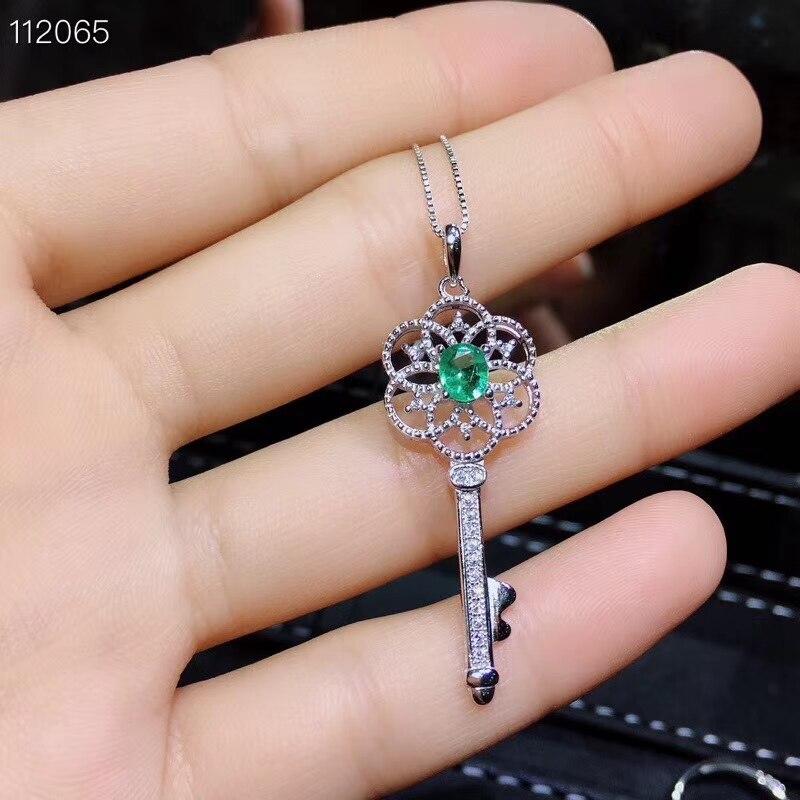 Oude Mooie Uitholling Key S925 zilver natuurlijke groene smaragd edelsteen ring Hanger natuurlijke edelsteen sieraden set vrouw party gift - 3