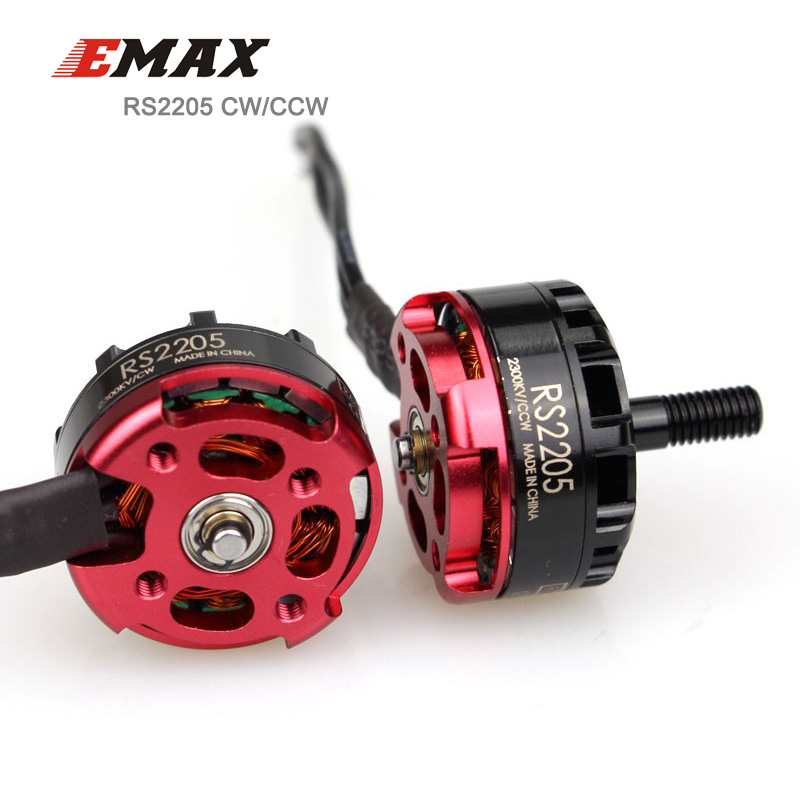 EMAX RS2205 CW/CCW Red Bottom Racing Brushless Motor for FPV Quad 2300KV/2600KV Optional 1 Pcs original emax rs1104 5250kv brushless motor t2345 tri blades propellers cw ccw props for 130 rc brushless racer drone q20400