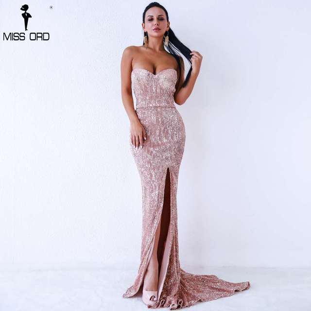 Missord 2018 Sexy BRA Off Shoulder Sequin High Split Dresses Female  Backless Dress Maxi Elegant Party Dress Vestdios FT9188 9f610ad6a2e4