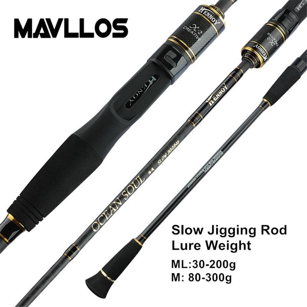 Mavllos canne à pêche à la gigue lente C.W. 30-200g/80-300g Ultra léger haute teneur en carbone canne à pêche filature 45 cm tige poignée