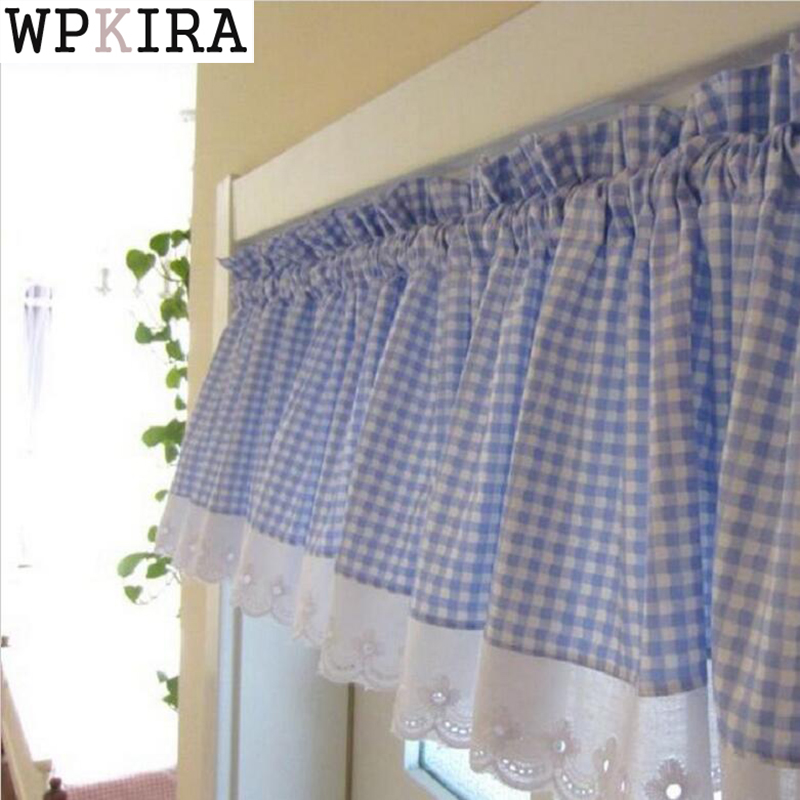 Blue Small Plaid Curtains With Lace Cafe Curtains Kitchen Short Curtain Semi Shade Small Short