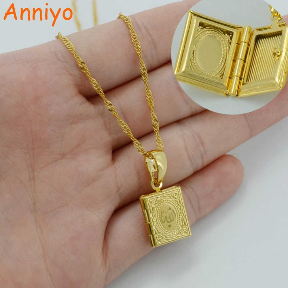 Anniyo małe DIY budka foto naszyjniki dla kobiet/dziewczyna, Allah wisiorek złoty kolor muzułmański islamski biżuteria prezent #037102