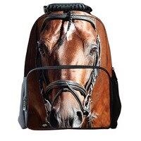 3D Children School Bag Animal Horse Dinosaur Printing Men's Travel Backbag Crazy Horse School Bags for Teenager Boys Girls