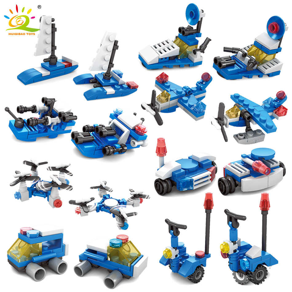 187Pcs City Police Mosquito Craft Sailboat Model Building Blocks Legoing City Balance Car Bricks Toys For Children