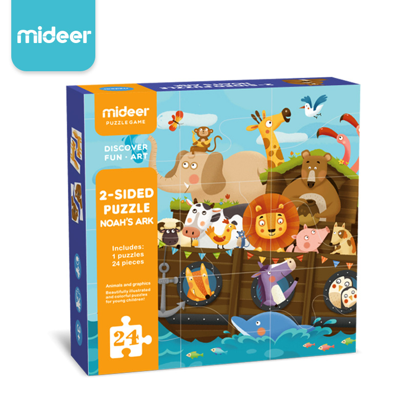 Mideer Children 2-Sided Puzzle Toys Noah's Ark Matching Puzzle Learning Educational Toys for Kids Baby Gifts вспыш и чудо машинки раскраска вперед к победе