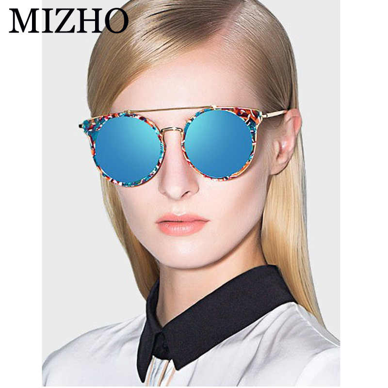 MIZHO Marke Superstar Kupfer Metall Polarisierte Sonnenbrille Frauen Cat eye Vintage UV400 Runde Qualität GLÄSER Damen Original Luxus