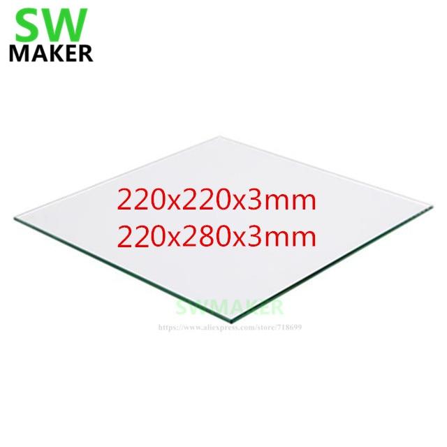 swmaker 220 220mm 220x280mm placa de construcao de vidro de borosilicato para cama aquecida diy tevo