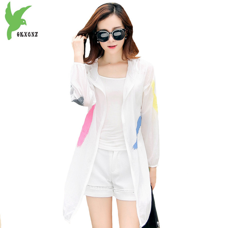 Summer Women Sunscreen Windbreaker Coat Fashion Print Hooded Sun protection clothing Beach Holiday Thin   Trench   Coat OKXGNZ H167