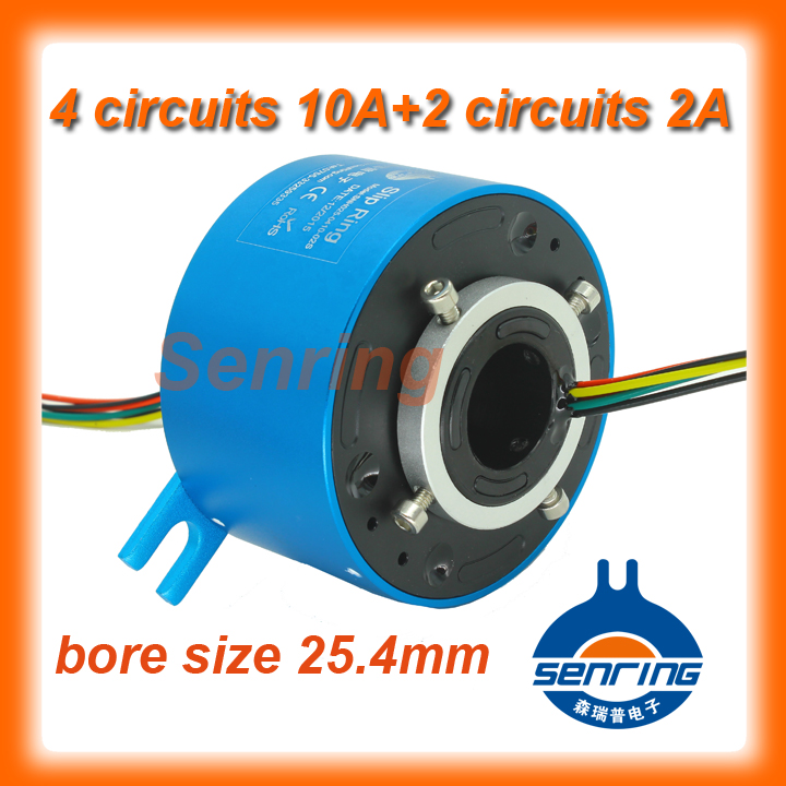 Electronic supply slip ring bore size 25.4mm with 4 wires 10A and 2 circuits signal of through hole slip ring