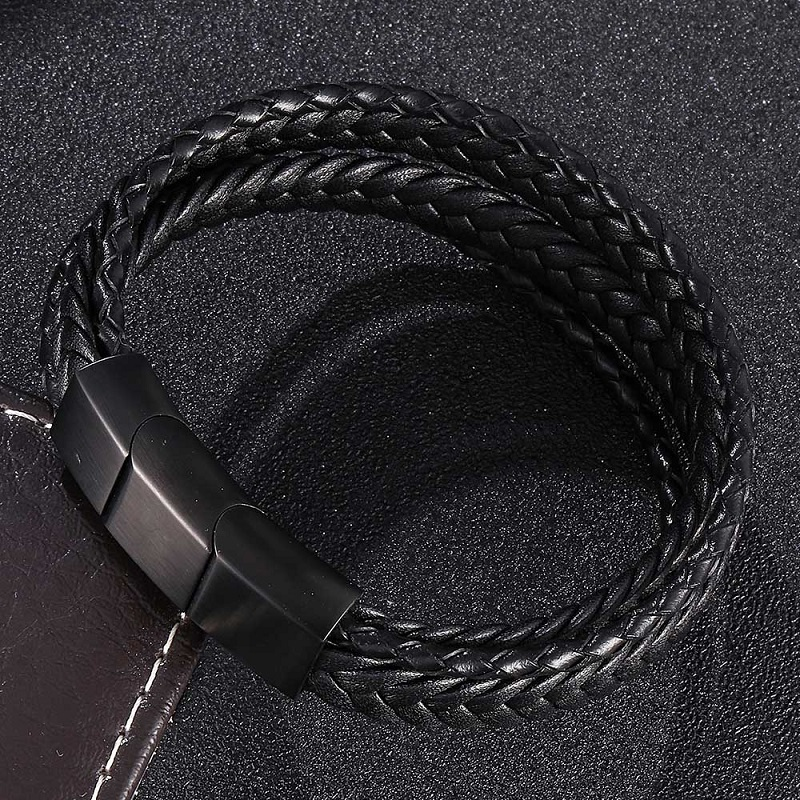 Charm Bracelets for Men Women Black Multiple Leather Rope Bracelet Adjustable Magnetic Clasps Male Wrist Band Bangles Gifts 507 in Charm Bracelets from Jewelry Accessories