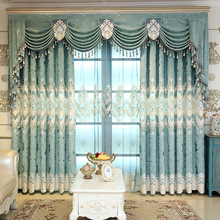 Curtains for Living Dining Room Curtains for Bedroom Chenille Jacquard European Embroidery Valance Curtain for Balcony Curtain