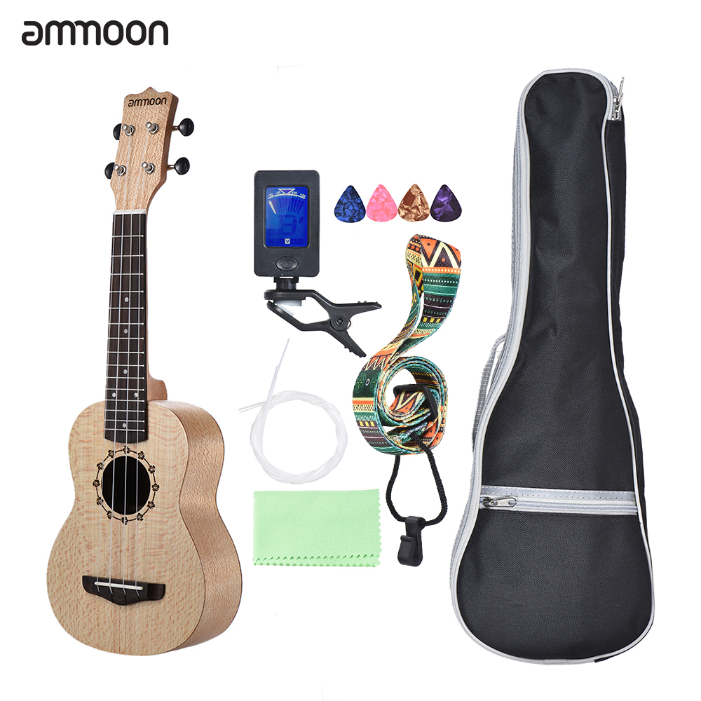 Ammoon Soprano Ukulele 21 Inch Ukelele Platanus Body Rosewood Fingerboard 4 Strings Guitar Ukulele Set With Extra Guitar Parts Ukulele