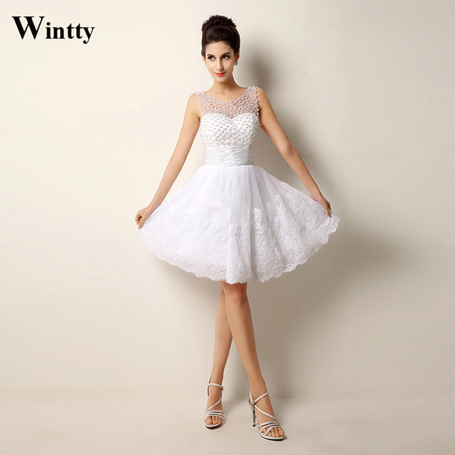 Wintty Lace Beading Short Wedding Dresses Sexy Plus Size Vintage Styles 2016 Real Photo 2017 Casamento