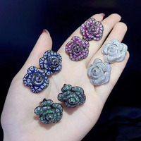 camellia flower stud earring white green blue rose red color romantic plant 925 sterling silver fine women jewelry 24MM