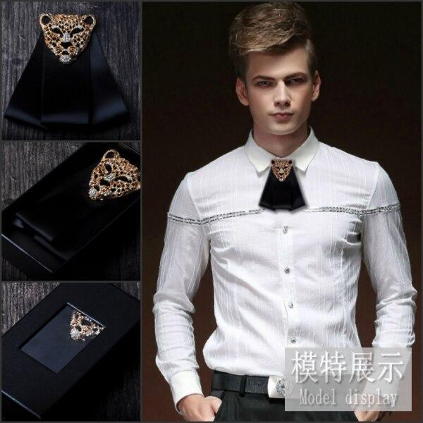 New Free Shipping Fashion Male MEN'S Groom Groomsman Tie Diamond Wedding Korean Tie Leopard Head Tie Bow Handmade On Sale