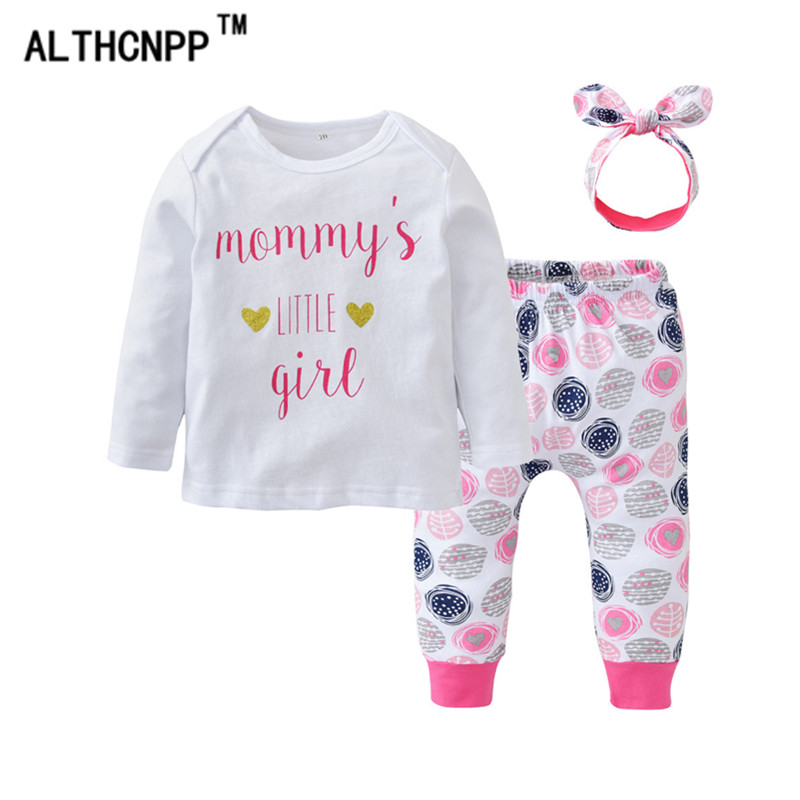 Newborn Baby Girl Clothes Baby Girl Clothing Set 3PCS Cotton Lettering Print Top + Trousers + Headdress Ensemble Bebe Fille