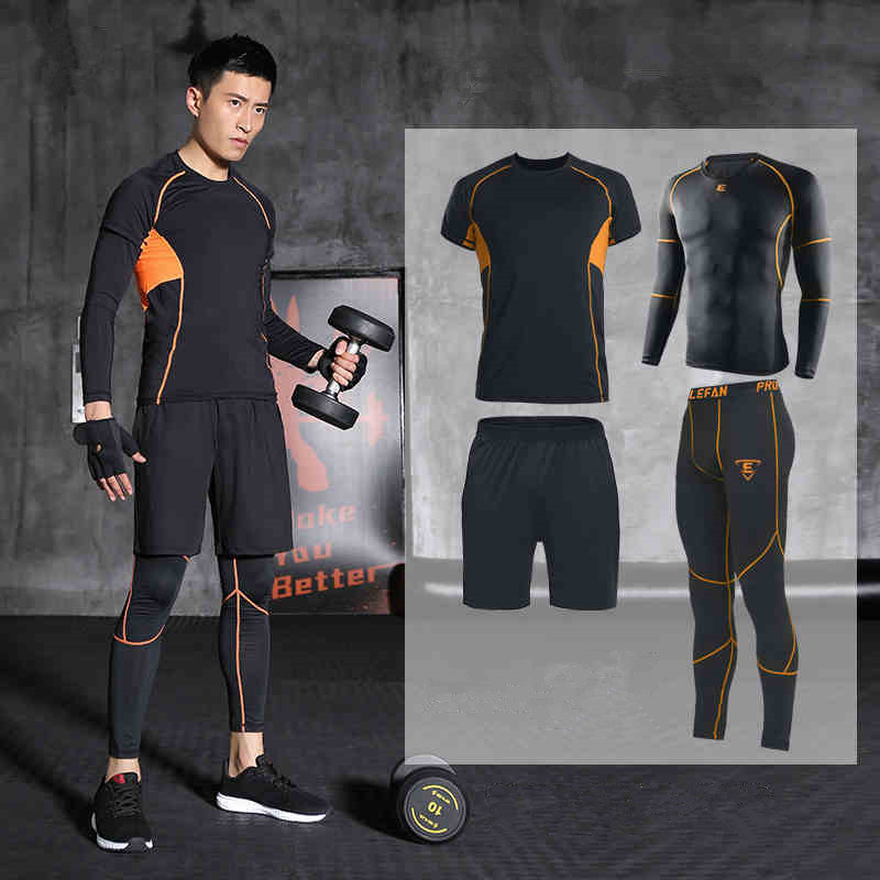 Men Sports Suit Running Set Jogging Clothing Training Suits Gym Fitness Sweatshirt Tights Shorts Leggings Tracksuits Breathable цена