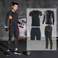 Men Sports Suit Running Set Jogging Clothing Training Suits Gym Fitness Sweatshirt Tights Shorts Leggings Tracksuits Breathable