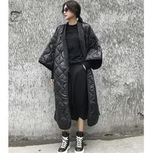 2018 New Autumn Winter V-collar Three-quarter Sleeve Solid Color Bandage Cotton-padded Big Size Coat Women Fashion