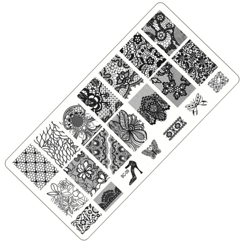 Lace Flower Theme Nail Art Stamping Plates Nail Polish Print 6*12cm Stainless Steel Template Polish Manicure Stencil Tools