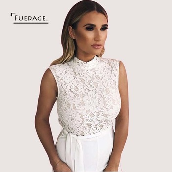 Fudeage Fashion Lace Stitching Jumpsuit 2017 New Sexy Long Sleeveless Back Zipper Women Overalls Elegant Party Boysuits Jumpsuit