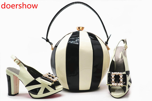doershow Italian Shoe with Matching Bag Sets African Woman Matching Italian Shoe and Bag Set Nigerian Shoes and Bag Set!MQ1-9 2018 new arrival pink color italian shoe with matching bags shoes and bag set african sets 2018 shoe and bag italian design sets