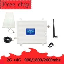 900/1800/2600 Mhz 2G 3G 4G Handy Repeater 4G 2600 Mhz Cellular signal Booster Verstärker 70db Gain Peitsche Antenne