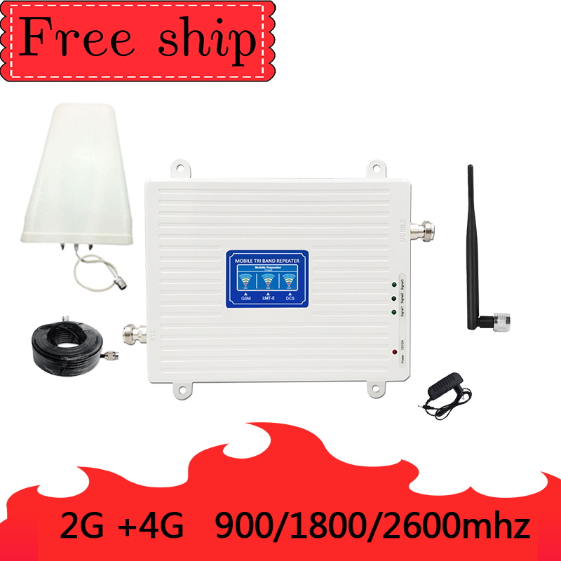 900/1800/2600 Mhz 2G 3G 4G Mobile Phone Repeater 4G 2600Mhz  Cellular Signal Booster Amplifier 70db Gain Whip Antenna