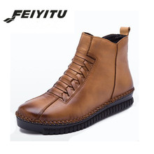 feiyitu  fashion women winter Genuine Leather Boots warm Vintage Style Flat Booties Soft Cowhide woman snow boots Ankle