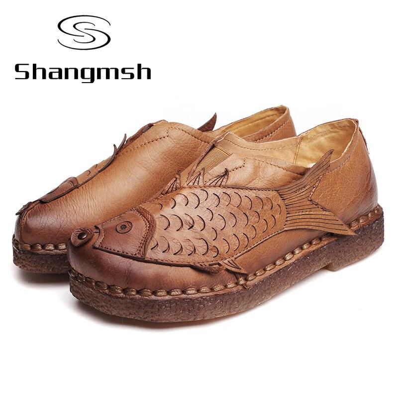 Autumn folk style flat shoes women retro handmade shoes for Fish head shoes